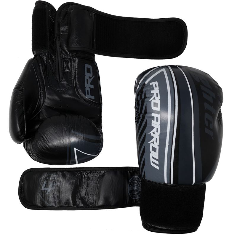 Pro Arrow Leather Boxing Glove grey white black – image 4