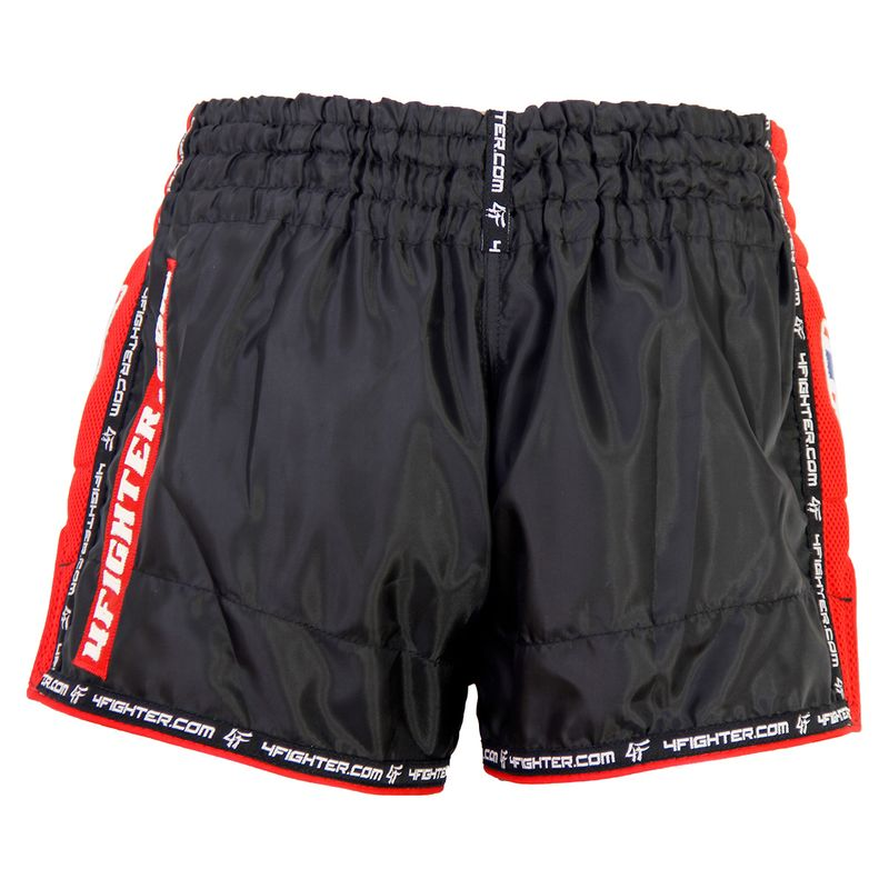 4FIGHTER LOW WAIST MUAY THAI SHORTS BLACK WITH RED MESH SIDES AND LINING – image 5