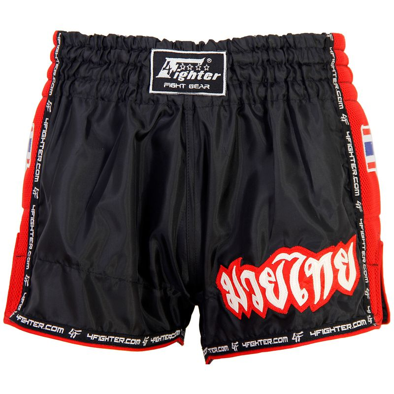 4FIGHTER LOW WAIST MUAY THAI SHORTS BLACK WITH RED MESH SIDES AND LINING – image 2