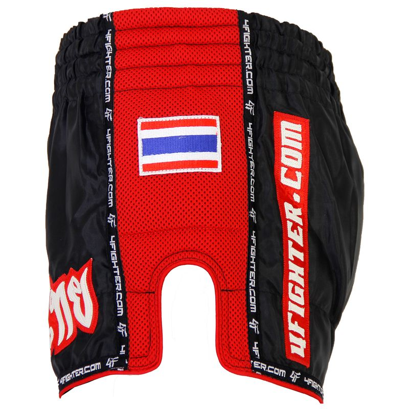 4FIGHTER LOW WAIST MUAY THAI SHORTS BLACK WITH RED MESH SIDES AND LINING – image 3
