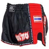 4FIGHTER LOW WAIST MUAY THAI SHORTS BLACK WITH RED MESH SIDES AND LINING 001