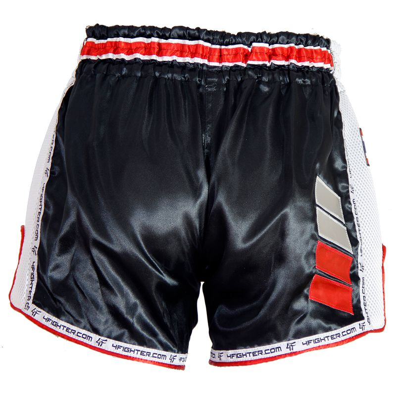 4Fighter Muay Thai Short Low Waist  AIR satin with white logo and mesh side vents – image 5