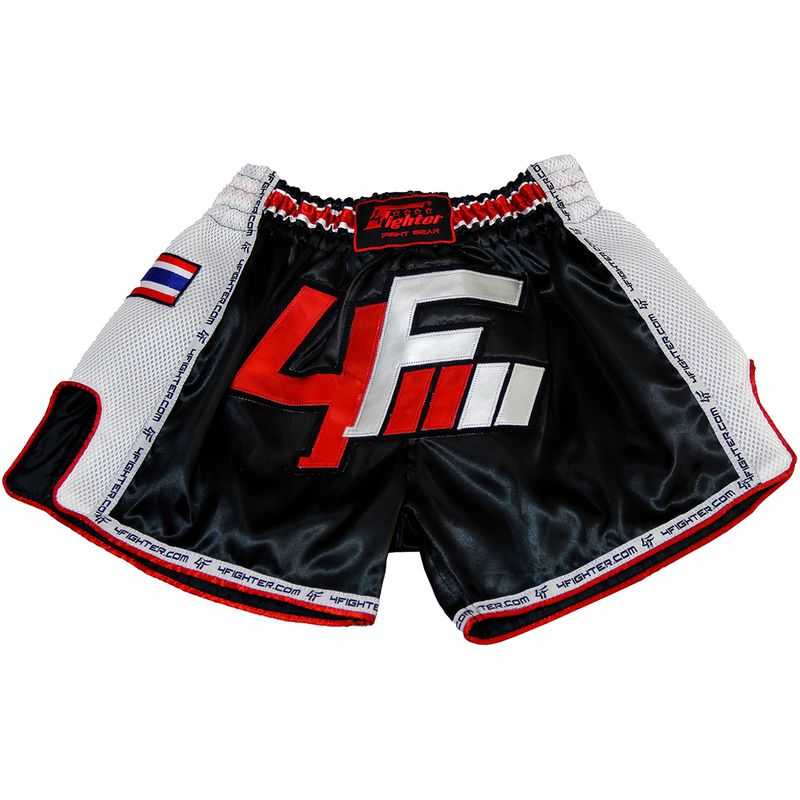 4Fighter Muay Thai Short Low Waist  AIR satin with white logo and mesh side vents