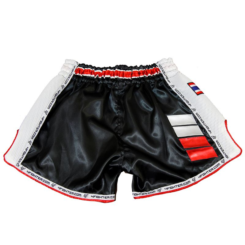 4Fighter Muay Thai Short Low Waist  AIR satin with white logo and mesh side vents – image 4