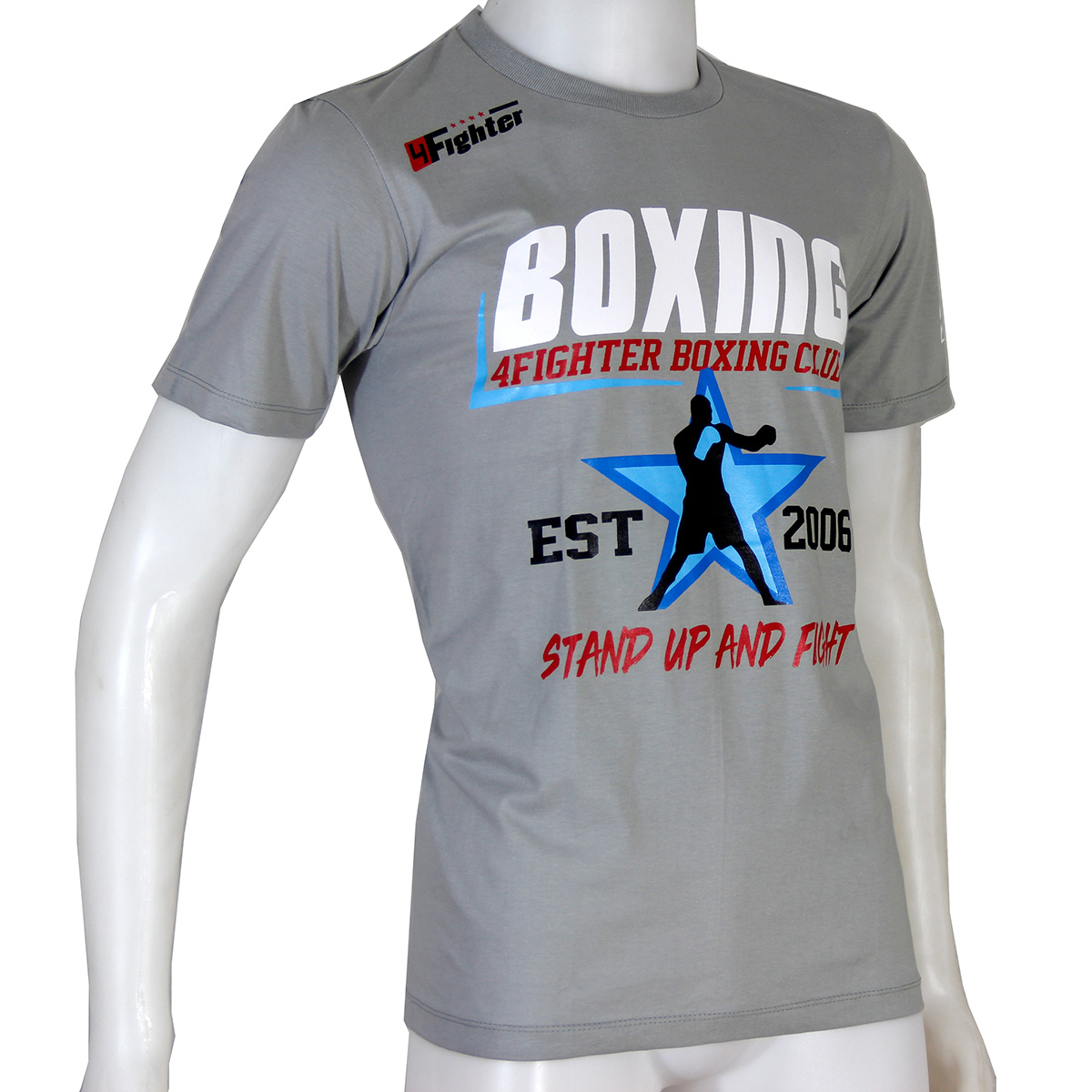 4Fighter Boxing T-Shirt Stand up and Fight in grau rot blau weissem BOXING Druck