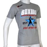 4Fighter Boxing T-Shirt Stand up and Fight in grau rot blau weissem BOXING Druck  001