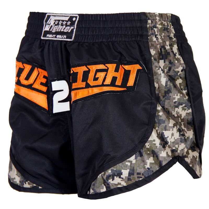4Fighter Live 2 Fight Low Waist Muay Thai Shorts / black camoflagoue – Bild 4