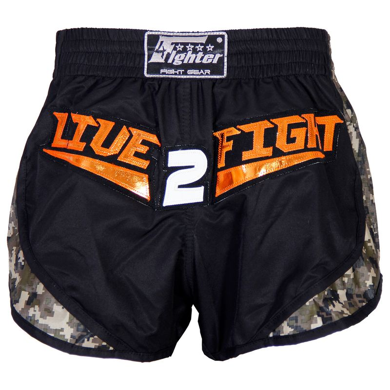 4Fighter Live 2 Fight Low Waist Muay Thai Shorts / black camoflagoue – Bild 1