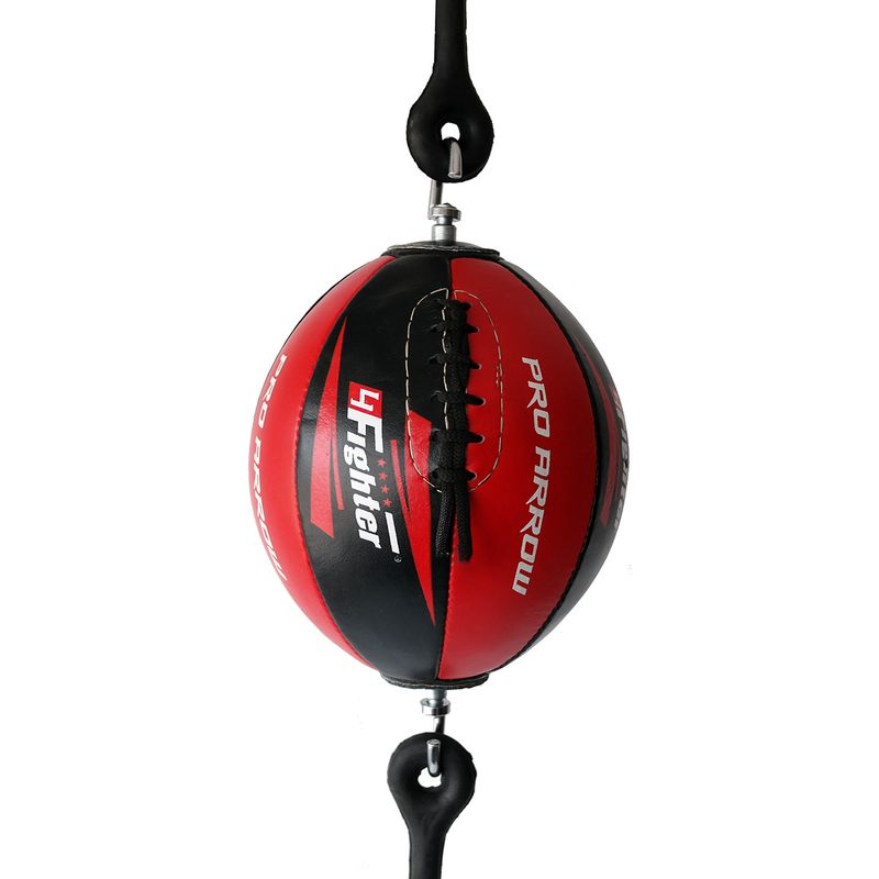 4Fighter Leather Punching ball / Double End Ball black red with 4fighter Logos and rubber suspension – image 1