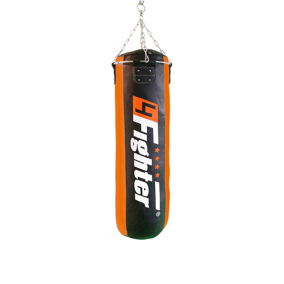 4Fighter Profi Kunstleder Boxsack / Sandsack - schwarz/orange, ungefüllt 180cm