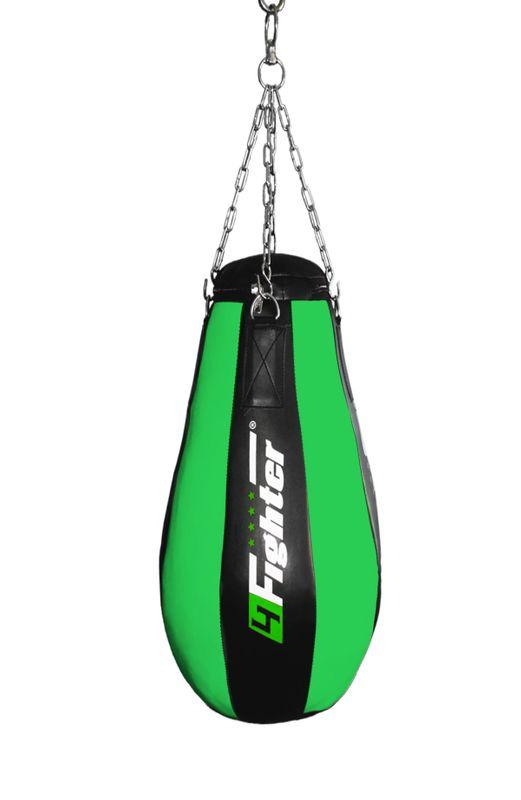 4Fighter Profi Kunstleder Boxsack / Sandsack Teardrop  - schwarz/grün, ungefüllt 90cm – Bild 1