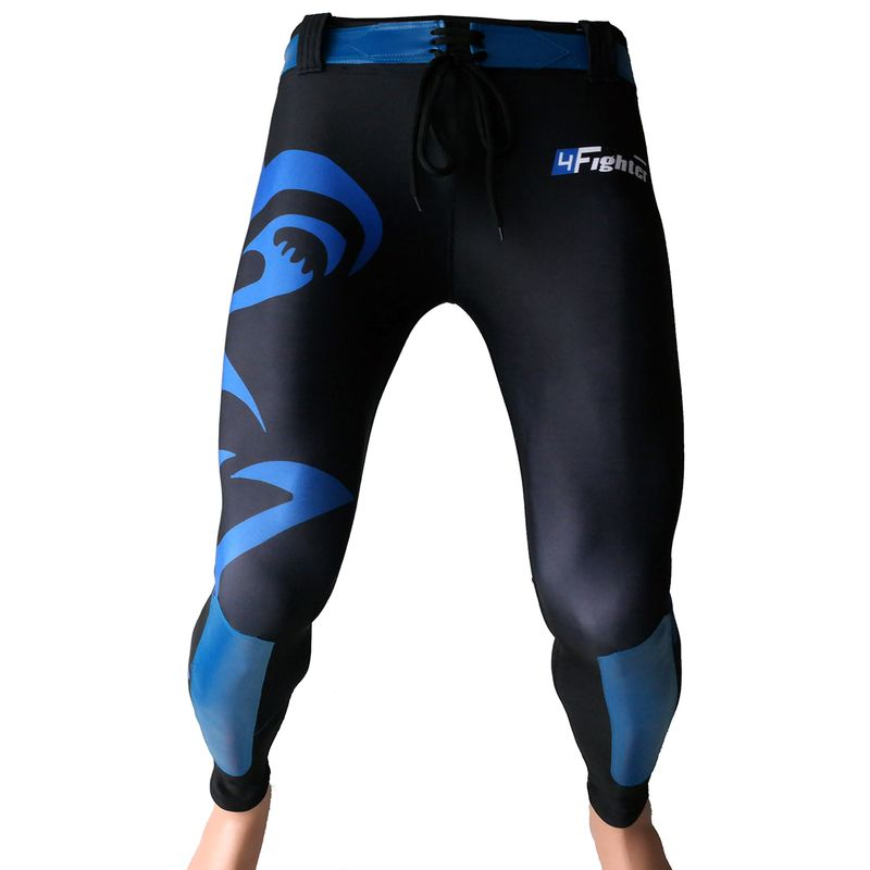 4Fighter MMA Compression long Shorts blue shark – Bild 1