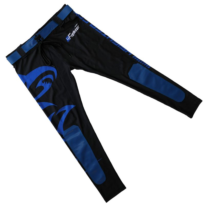 4Fighter MMA Compression long Shorts blue shark – Bild 3