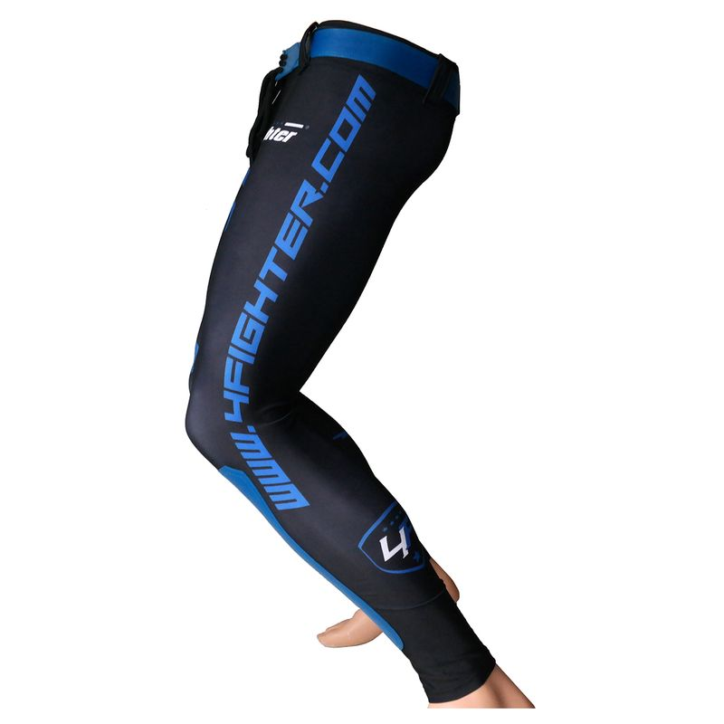 4Fighter MMA Compression long Shorts blue shark – Bild 5