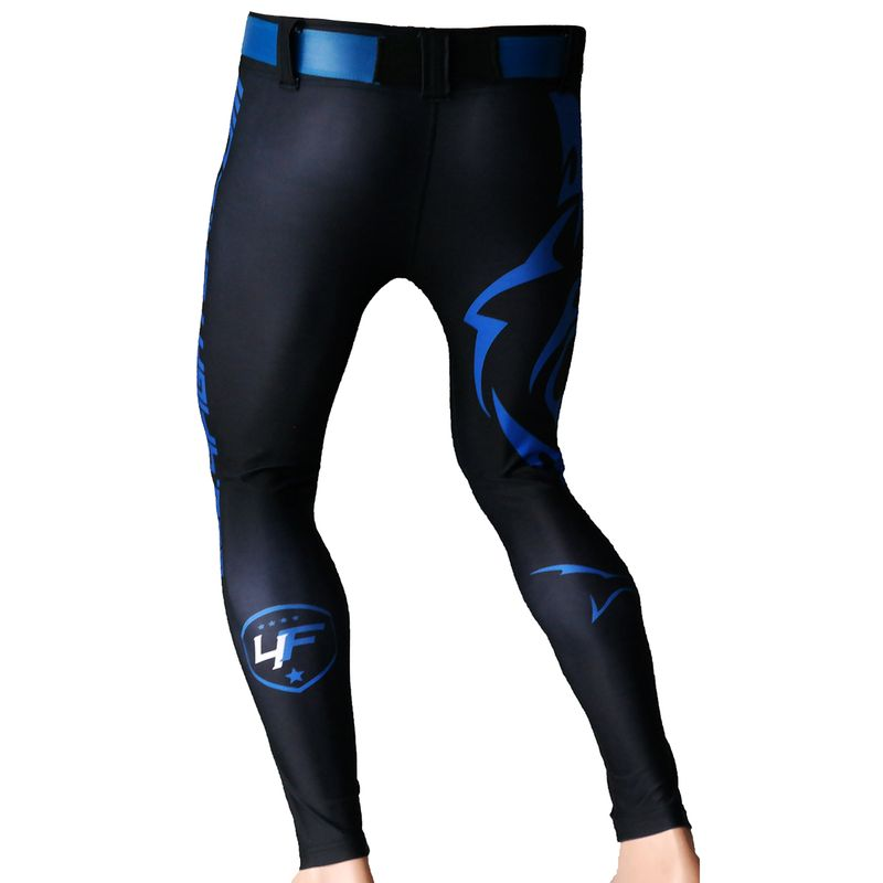4Fighter MMA Compression long Shorts blue shark – Bild 2