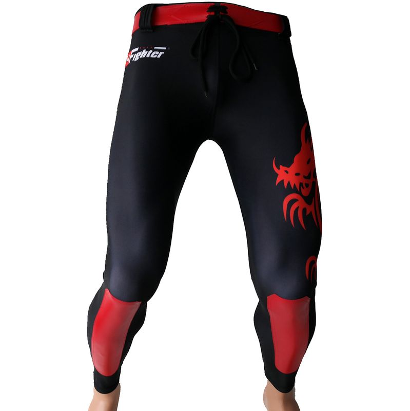 4Fighter MMA Compression long Shorts red Dragon  – Bild 1
