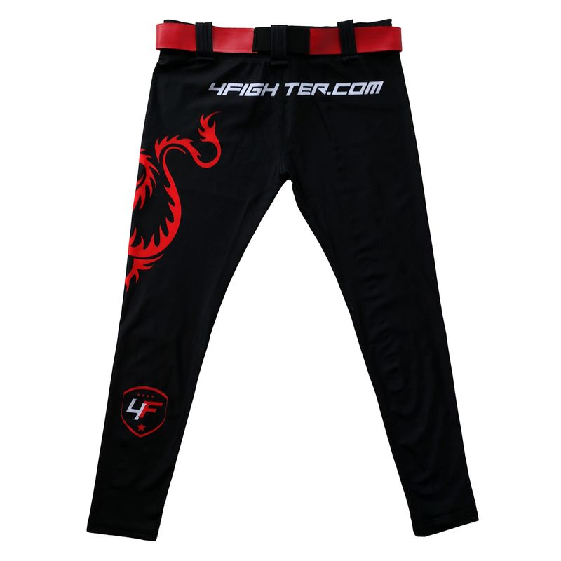 4Fighter MMA Compression long Shorts red Dragon  – Bild 4