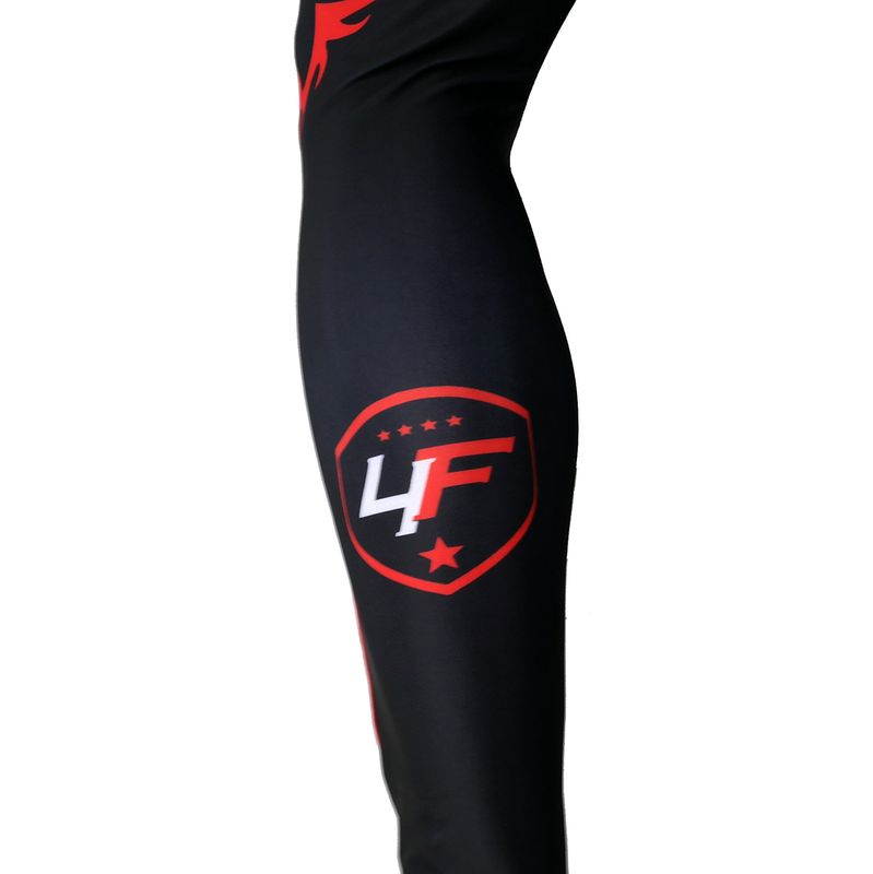 4Fighter MMA Compression long Shorts red Dragon  – Bild 5