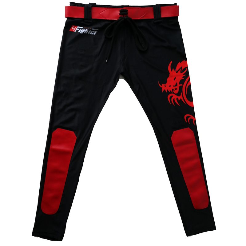 4Fighter MMA Compression long Shorts red Dragon  – Bild 3