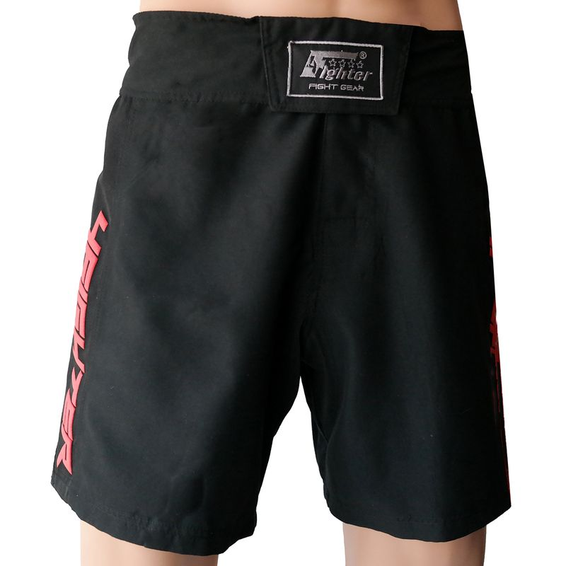 4Fighter MMA Shorts Black-red Pro Combat  – Bild 2