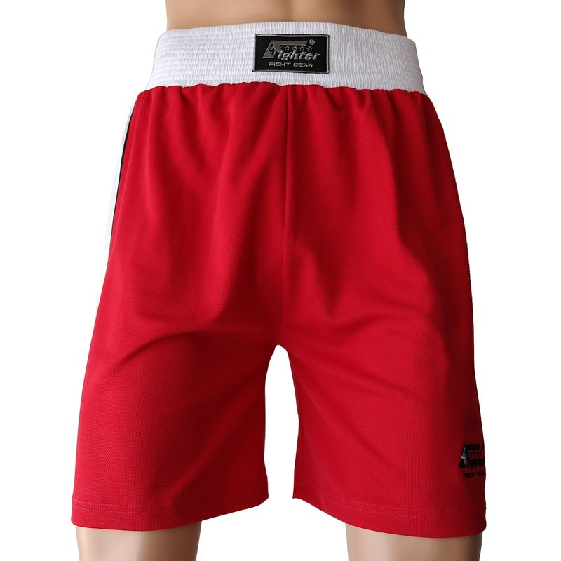 4Fighter Boxer pants red with white waistband and white stripes on the legs – image 2