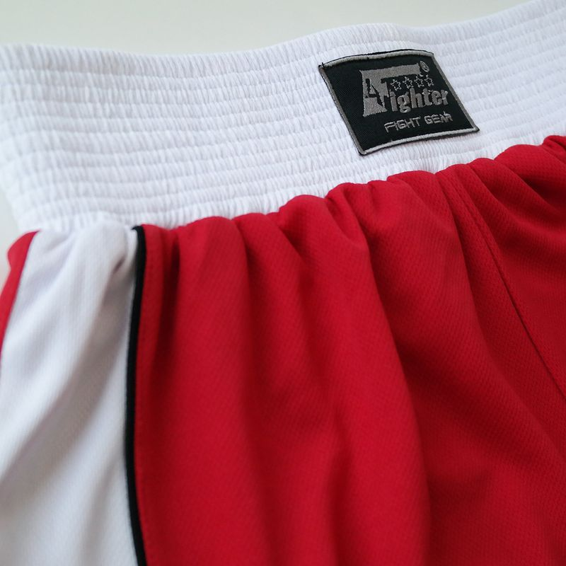 4Fighter Boxer pants red with white waistband and white stripes on the legs – image 9