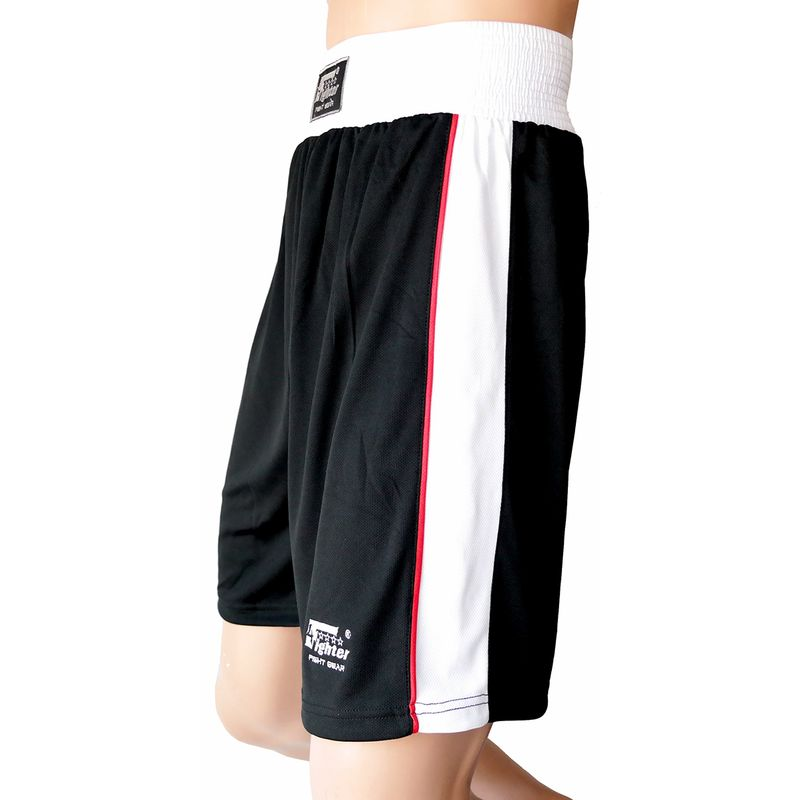4Fighter Boxer Pants black with with white waistband white stripes on the legs embroiery  – image 1