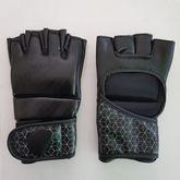 4Fighter  MMA / Freefight Handschuhe schwarz mit grauem Cage Design offene Hand