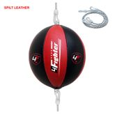 4Fighter Leather Punching ball / Double End Ball black red with 4fighter Logos and rubber suspension 001
