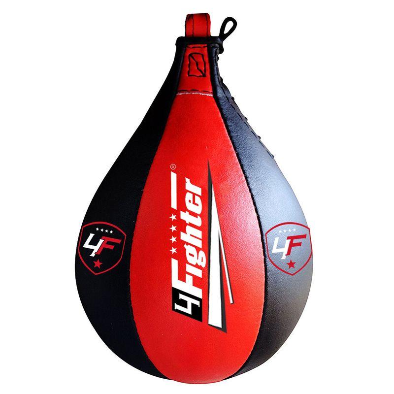 4Fighter Leder Boxbirne Speedball schwarz rot