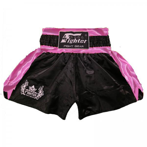 4Fighter Shorts Muay Thai Classic negro-pink