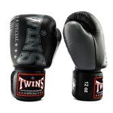 Twins professional Leather Boxing Gloves Muay Thai Kickboxing Boxing /BGVL3-2T/BK-10 black grey 001