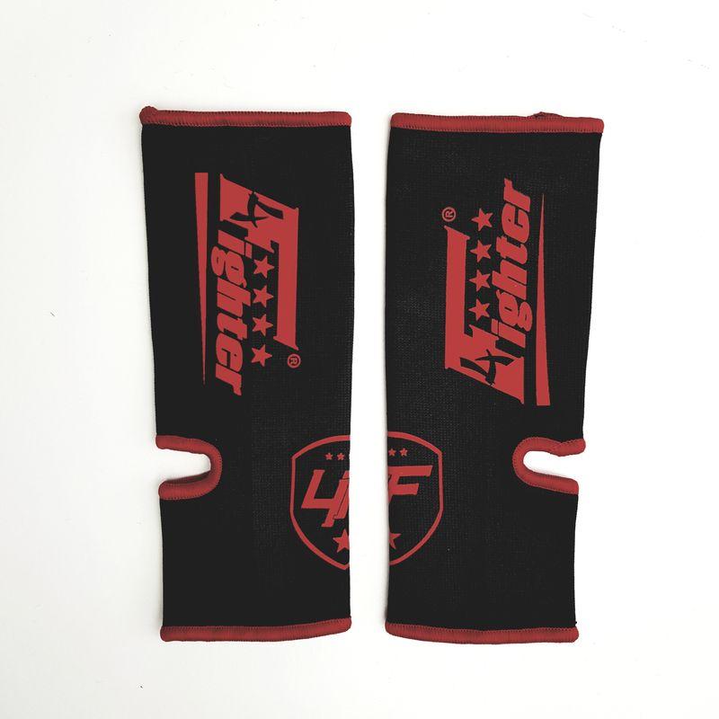 4Fighter Vendas de tobillo de combate / protectores de tobillo para niños elásticos negros con logo rojo – Bild 1