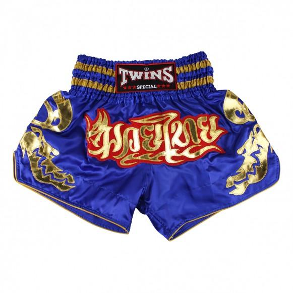 Twins Kick-Thaiboxing Shorts blau gold und goldenen Tribals