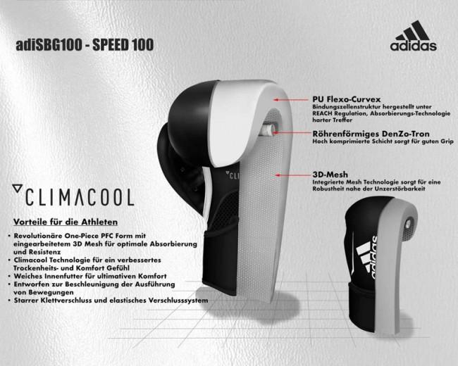 adidas Speed 100 schwarz weiß 10 oz – Bild 3