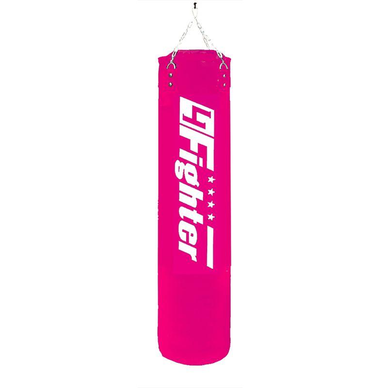 4Fighter Boxsack 150 cm x Ø 35 cm gefüllt ± 51 kg pink mit Logo