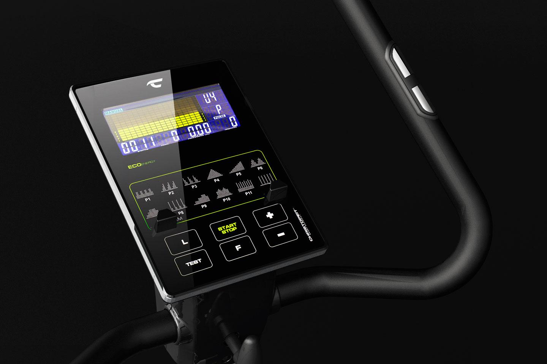 Ergometer ECO 1000: Modernes Display mit Halterung für Smartphone/Tablet und Ladefunktion für deine Devices