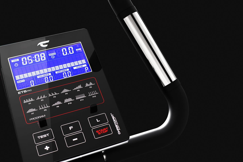 Ergometer ET 6 Pro: Display mit Halterung für Smartphone und Tablet am verstellbaren Lenker