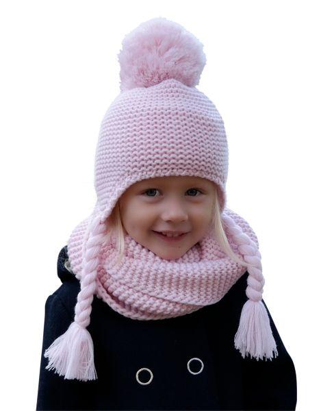 Hilltop Winterset für Kinder, Wollstrick Kombi-Set mit Schal und passender Bindemütze, Bommelmütze, verschiedene Farben – Bild 9