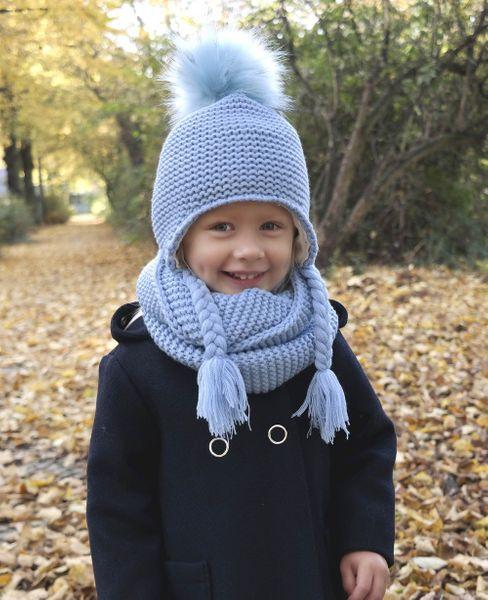 Hilltop Winterset für Kinder, Wollstrick Kombi-Set mit Schal und passender Bindemütze, Bommelmütze, verschiedene Farben – Bild 2