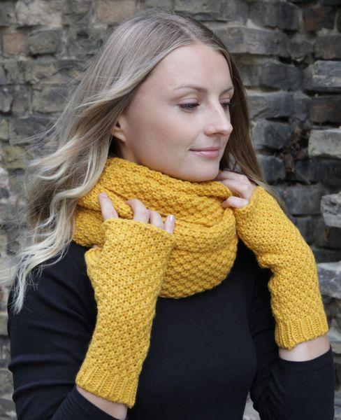 HILLTOP Winter Kombi Set aus Schal und wahlweise Handschuhe oder Handwärmer, 2-teilig, verschiedene Farben, Strickschal & Strick-Handschuhe für Damen – Bild 20