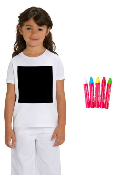 Hochwertiges Kinder T-Shirt I  Blackboard-T-Shirt aus 100% Bio-Baumwolle für Mädchen und Jungen zum selber beschriften, inkl. 5 Wachsmalstifte – Bild 4