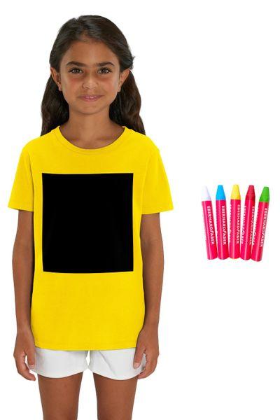 Hochwertiges Kinder T-Shirt I  Blackboard-T-Shirt aus 100% Bio-Baumwolle für Mädchen und Jungen zum selber beschriften, inkl. 5 Wachsmalstifte – Bild 1