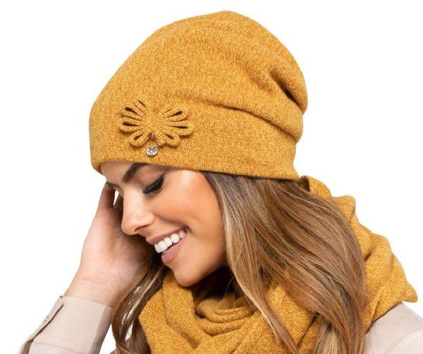Kamea Kansas Strickmütze Dame Kopfbedeckung Winter Musterlos Dick Applikation EU  – Bild 5