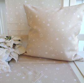 Textilserie Sterne Weihnachten Beige Kissen Decke Oder Tischläufer 40x40 40x140 Oder 85x85