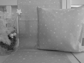 Textilserie Sterne Weihnachten Hellgrau Kissen Decke Oder Tischläufer 40x40 40x140 Oder 85x85