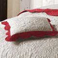 Kissenhülle Natur Rot Romantik Vintage gesteppt 45x45 oder 60x60 ohne Füllung