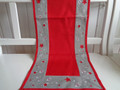 Tischläufer Weihnachten Rot Grau Silber 40x140 Sternchen Stick