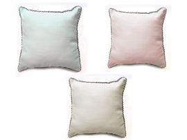Vintage Kissen mit Häkelbordüre Blau Rosa oder Weiß