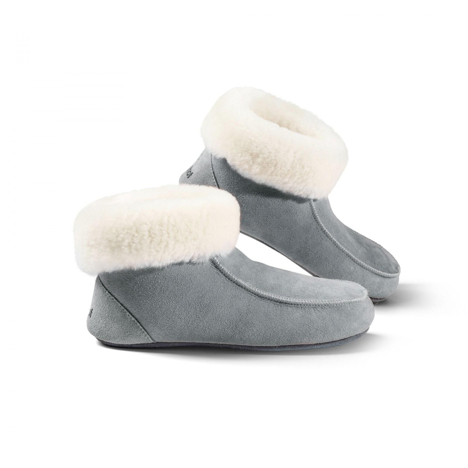 Damen Hausschuhe Lammfell Pantoffeln Hüttenschuhe Winter Warm Ledersohle 36 46